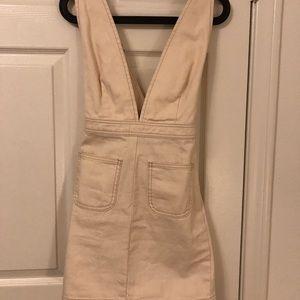 Urban Outfitters - White Denim mini overall dress